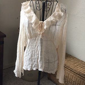 Vintage shirt sheer ivory, tiny buttons Med
